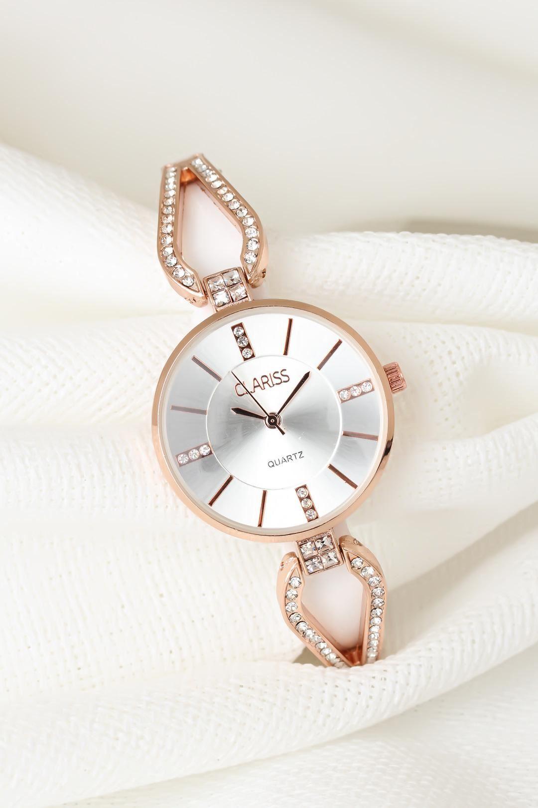 Rose Metal Taşlı Kordonlu Yeni Sezon Beyaz Renk İç Tasarımlı Bayan Clariss Marka Kol Saati