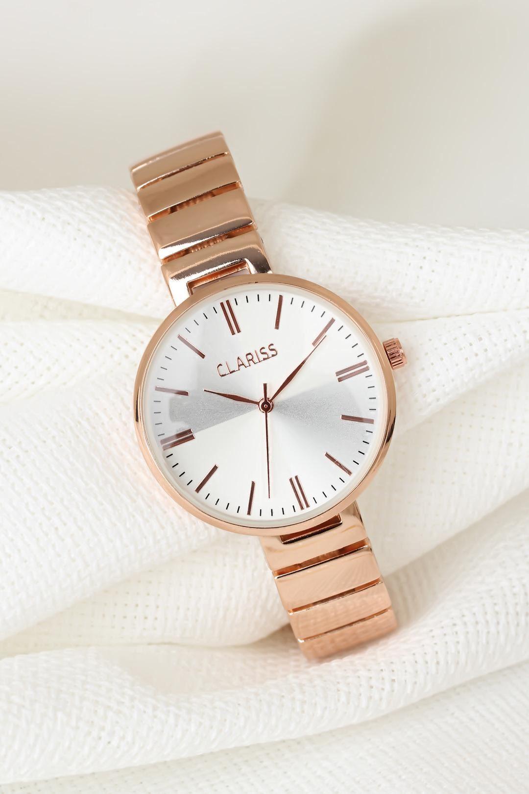 Rose Renk Metal Kordonlu Yeni Sezon Beyaz Renk İç Tasarımlı Bayan Clariss Marka Kol Saati