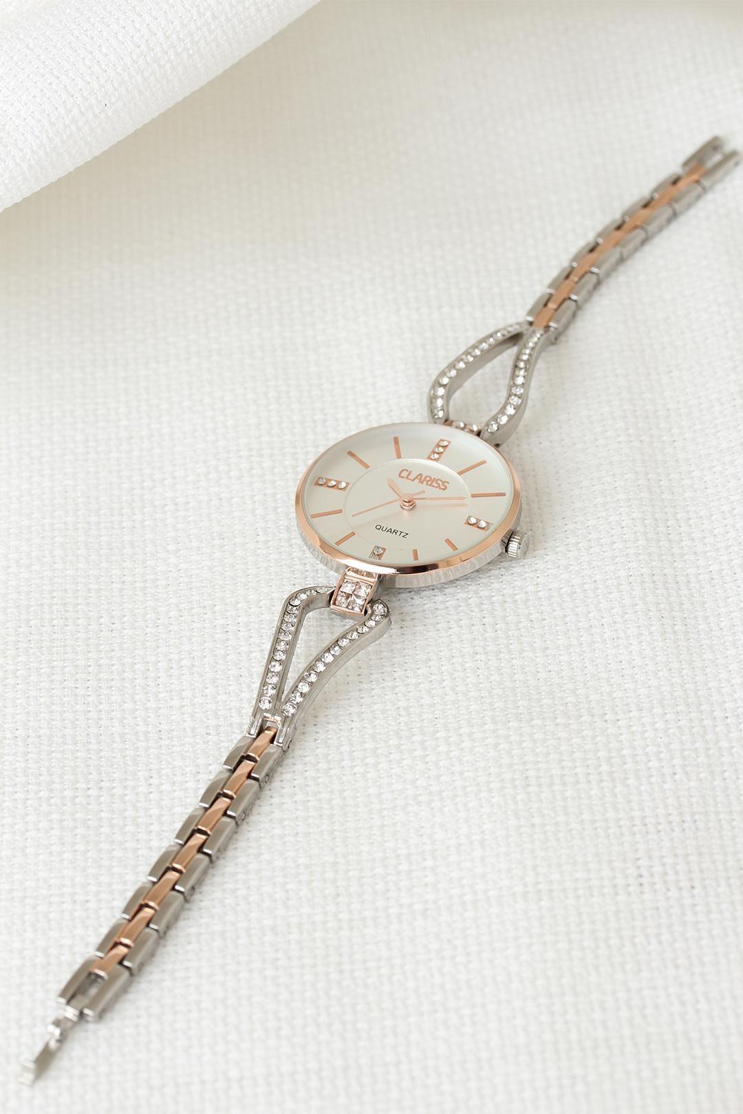 Silver Metal Taşlı Kordonlu Yeni Sezon Beyaz Renk İç Tasarımlı Bayan Clariss Marka Kol Saati