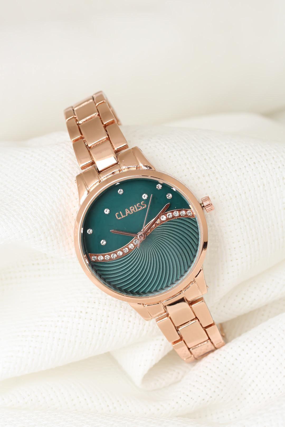 Rose Renk Metal Kordonlu Yeşil Renk Zirkon Taşlı İç Tasarımlı Clariss Marka Bayan Kol Saati