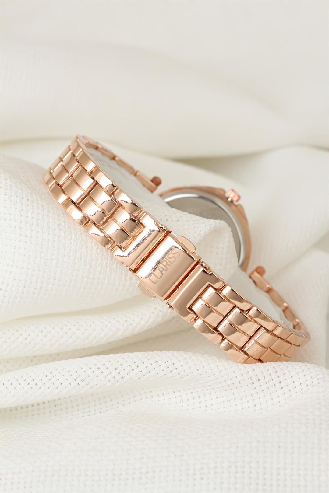Rose Renk Metal Kordonlu Zirkon Taşlı İç Tasarımlı Clariss Marka Bayan Kol Saati