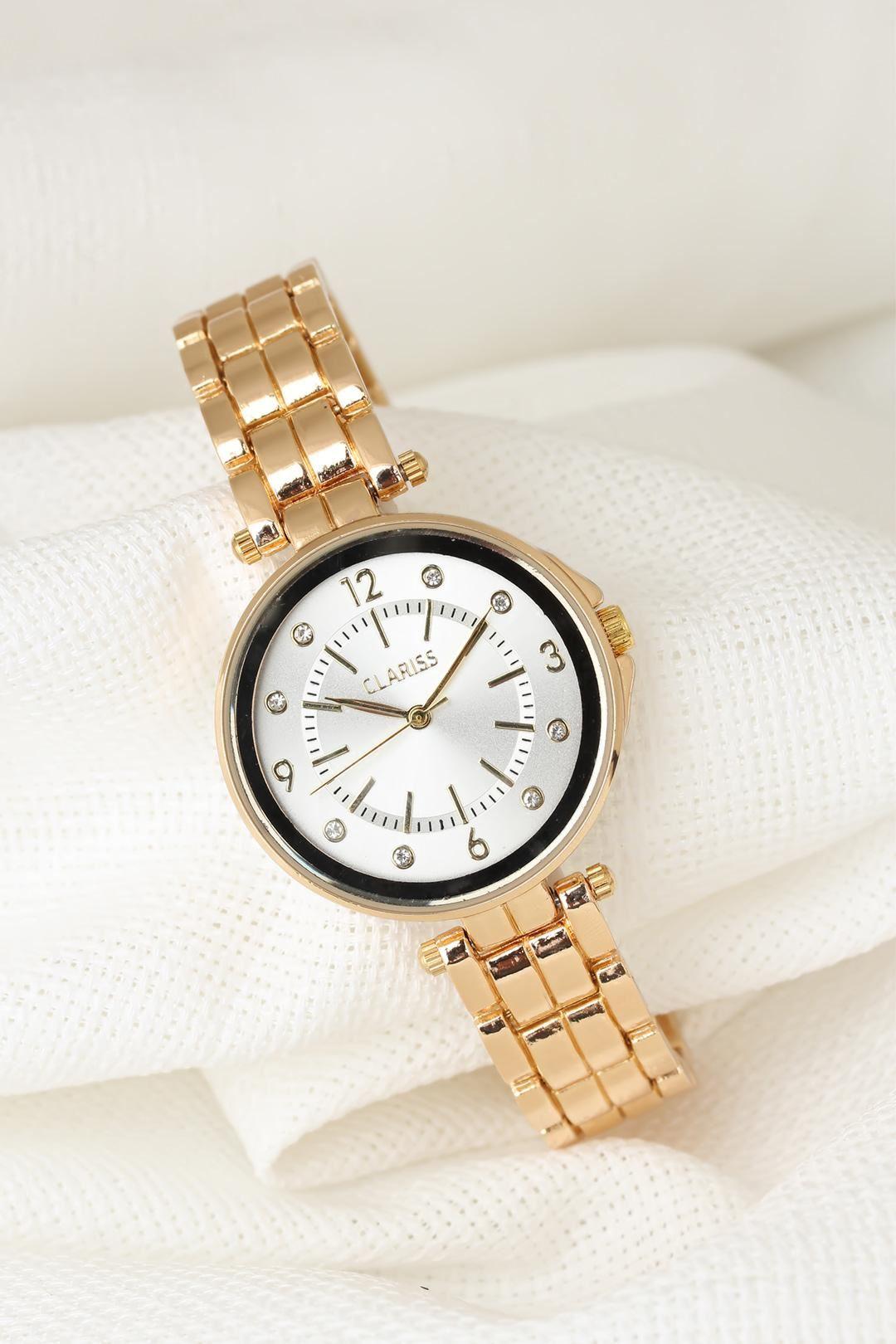 Gold Renk Metal Kordonlu Beyaz Renk Taşlı İç Tasarımlı Clariss Marka Bayan Kol Saati