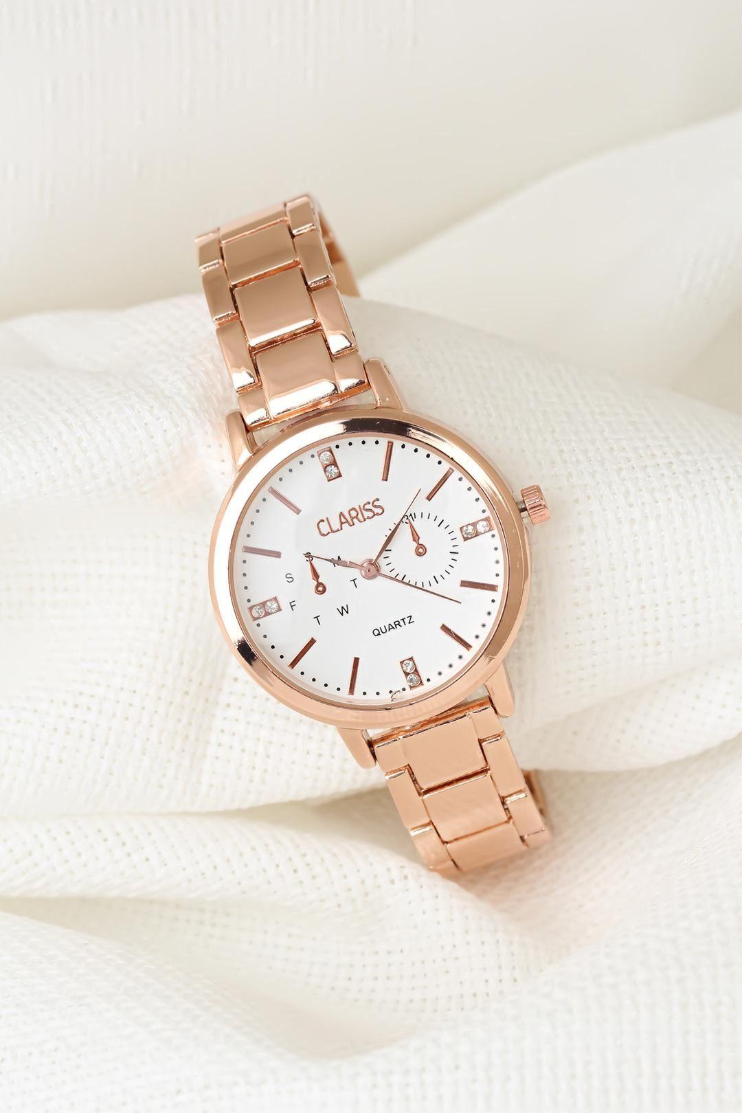 Rose Renk Metal Kordonlu Beyaz İç Tasarımlı Yeni Sezon Clariss Marka Bayan Kol Saati