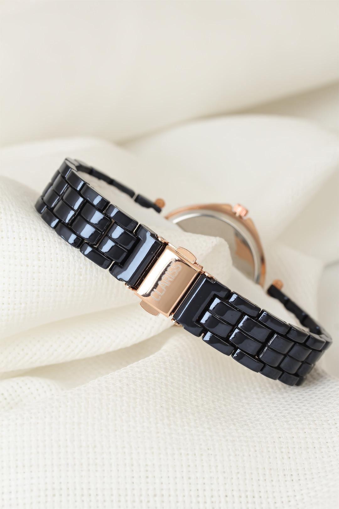 Lacivert Renk Metal Kordonlu Zirkon Taşlı İç Tasarımlı Clariss Marka Bayan Kol Saati