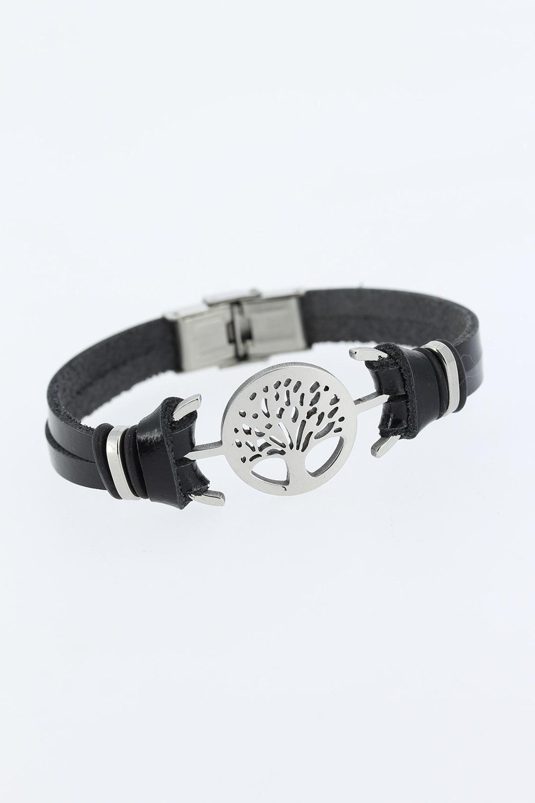 Silver Renk Ağaç Figürlü Metal Aksesuarlı Siyah Renk Deri Erkek Bileklik