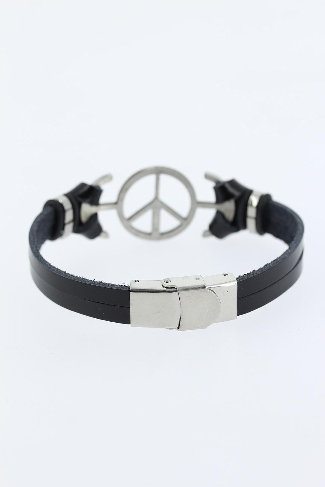Silver Renk Barış Figürlü Metal Aksesuarlı Siyah Renk Deri Erkek Bileklik