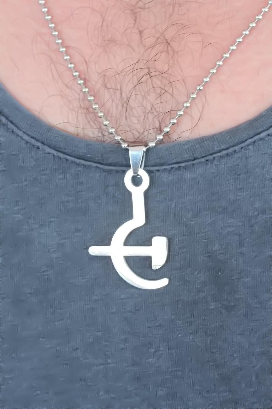 Silver Renk Metal Orak ve Balta Figürlü Erkek Kolye