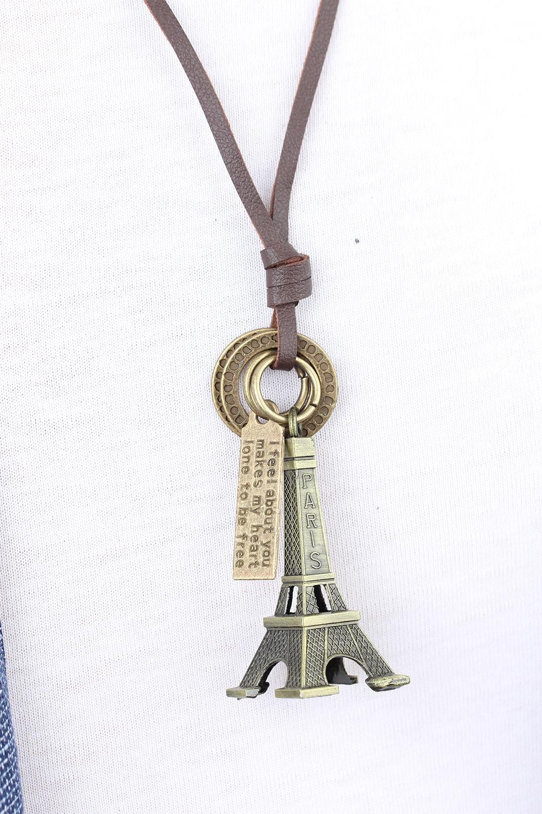Eskitme Renk Metal Paris Kulesi Aksesuarlı Deri İpli Erkek Kolye