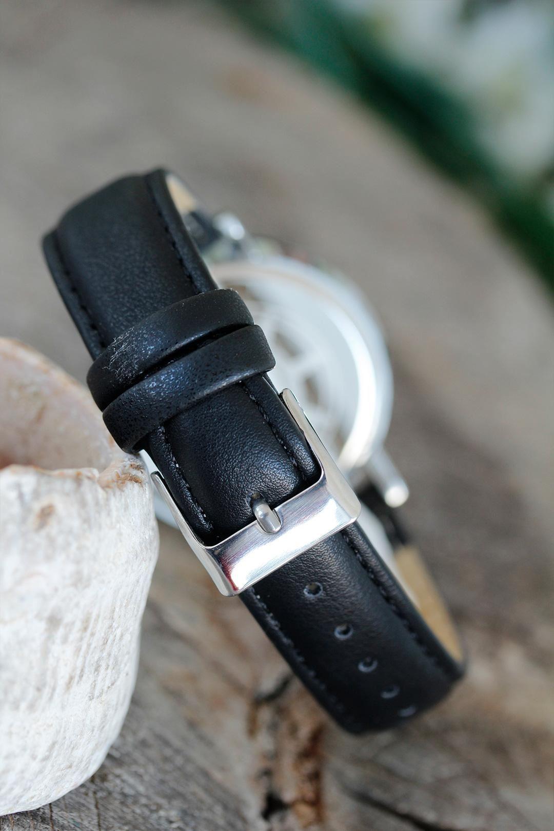 Osmanlı Tuğra Tasarımlı Siyah Renk Deri Kordonlu Bayan Saat