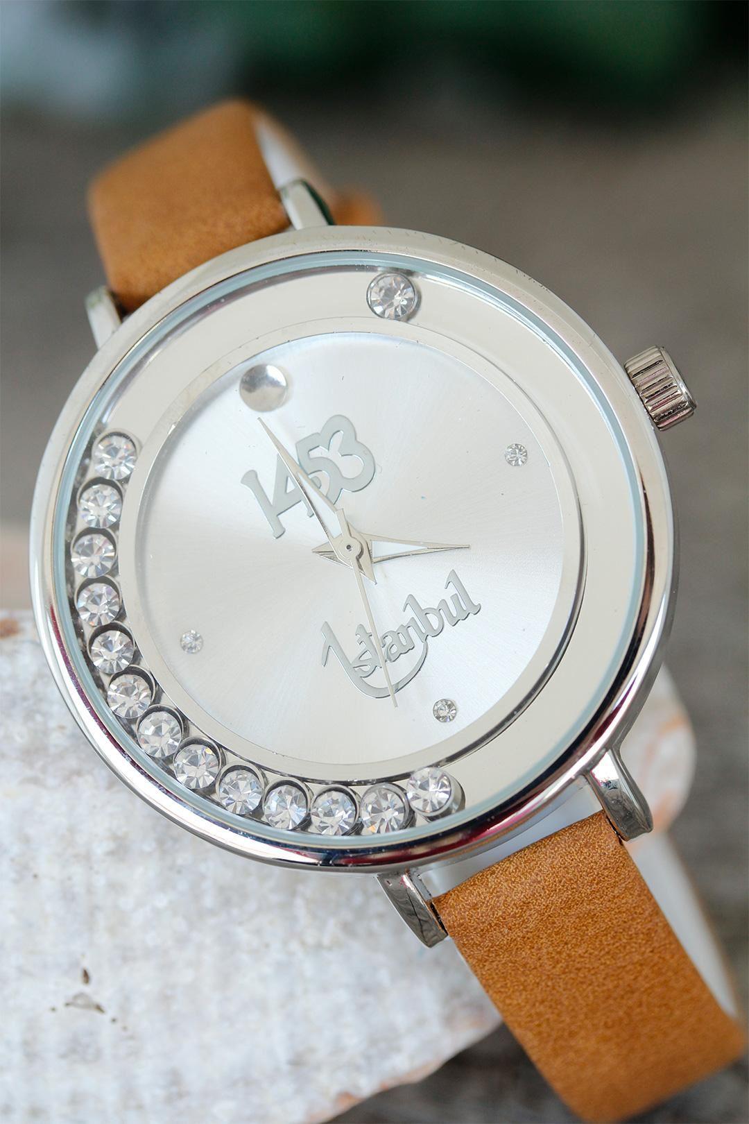 İstanbul 1453 Tasarımlı Kahverengi Deri Kordonlu Bayan Saat