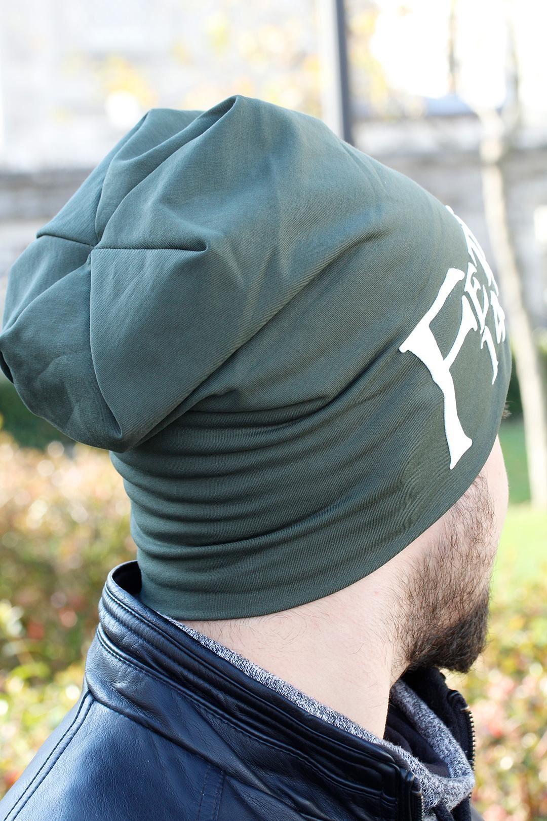 Fetih 1453 Yazılı Yeşil Renk Erkek Bere