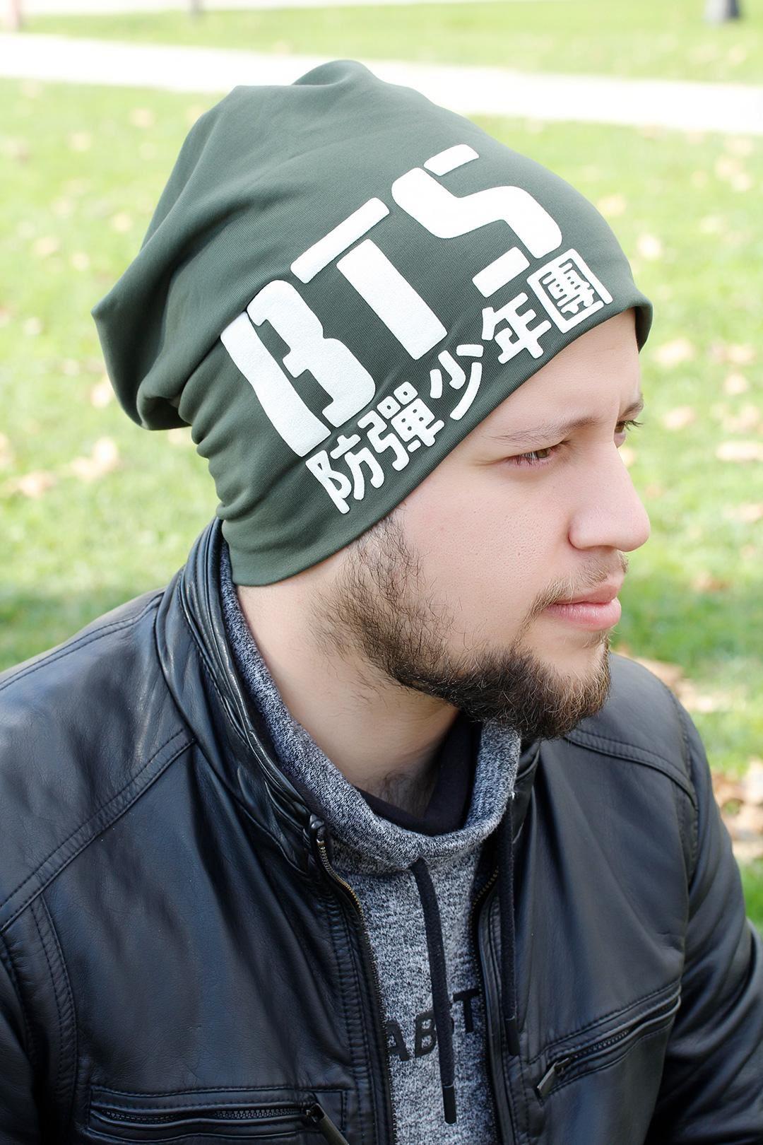 BTS Yazılı Yeşil Renk Erkek Bere