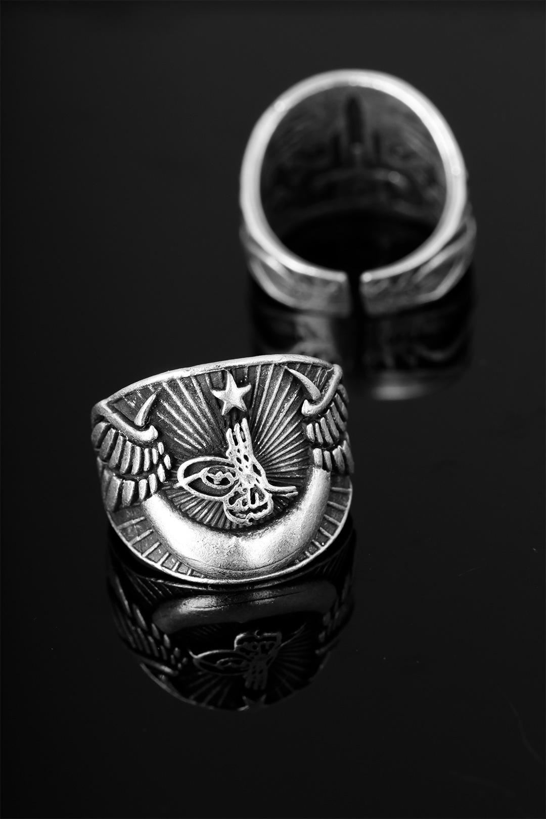 Çelik Osmanlı Tuğra Figürlü Ayarlamalı Erkek Yüzük