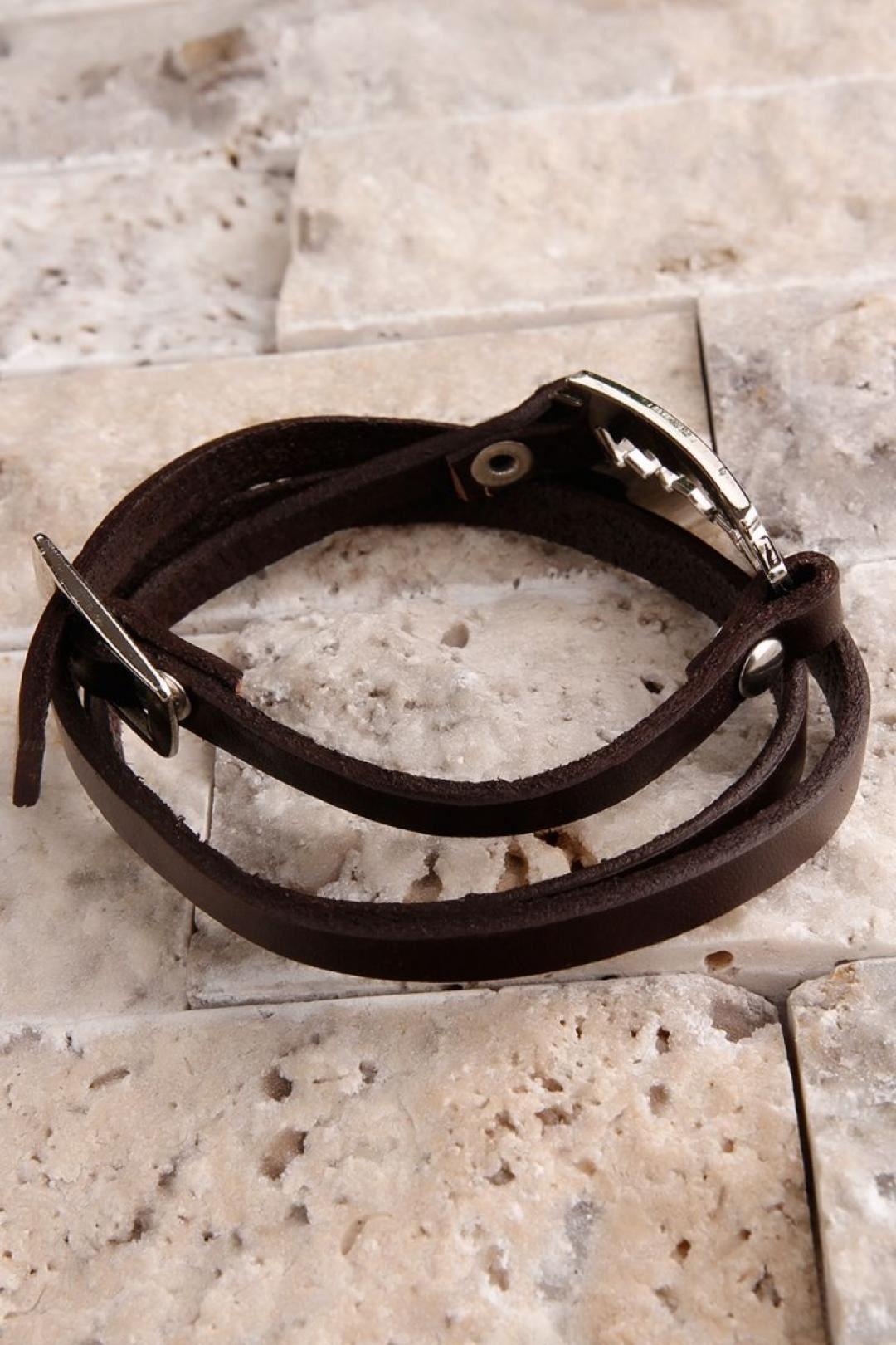 Kahverengi Deri Dolamalı Üzeri Çelik Tasarım Erkek Bileklik