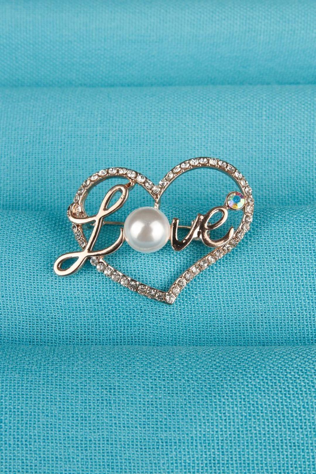 Rose Kalp ve Love Yazı Tasarımlı Bayan Broş