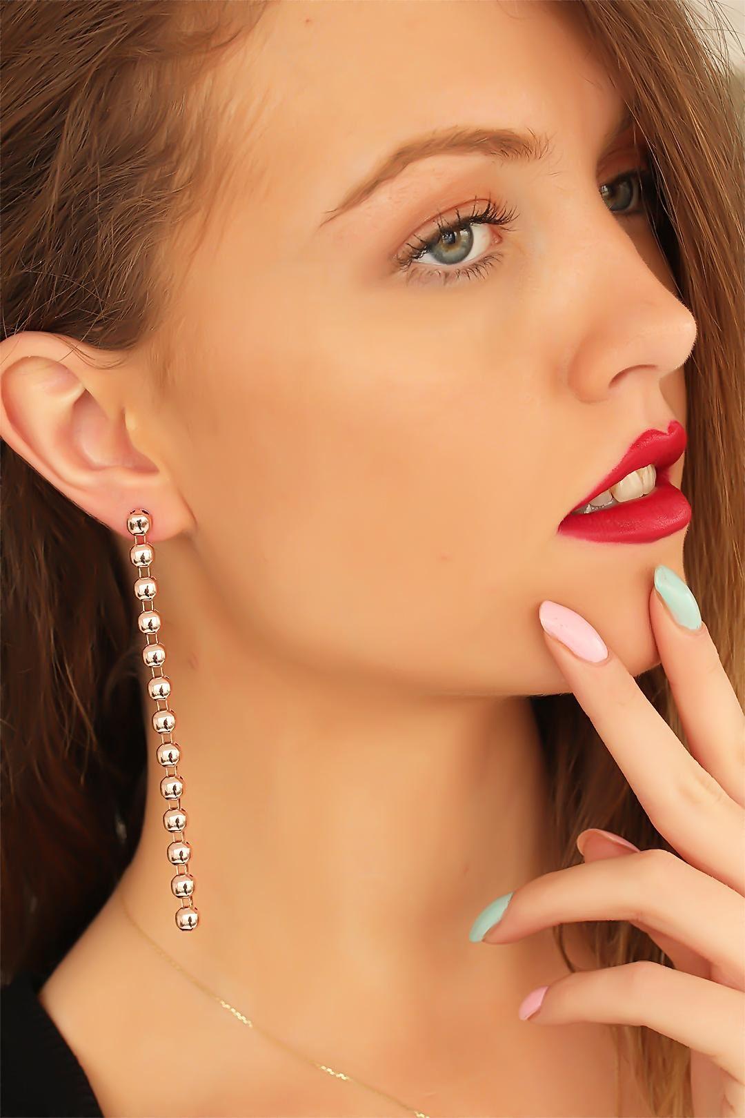 Rose Renk Top Zincirli Bayan Sallantı Küpe