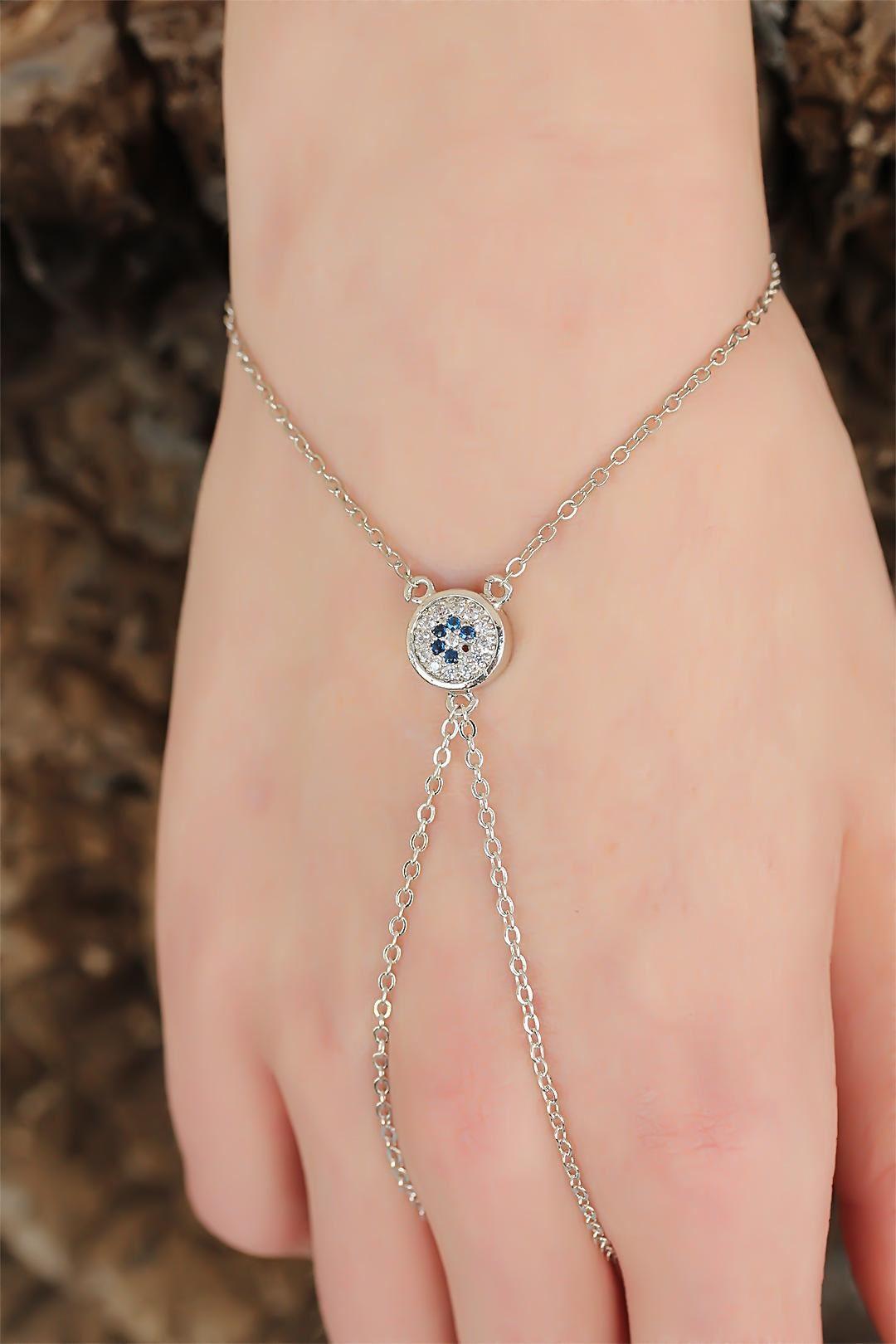 Silver Renk Zirkon Taşlı Mavi Çiçekli Şahmeran Bileklik