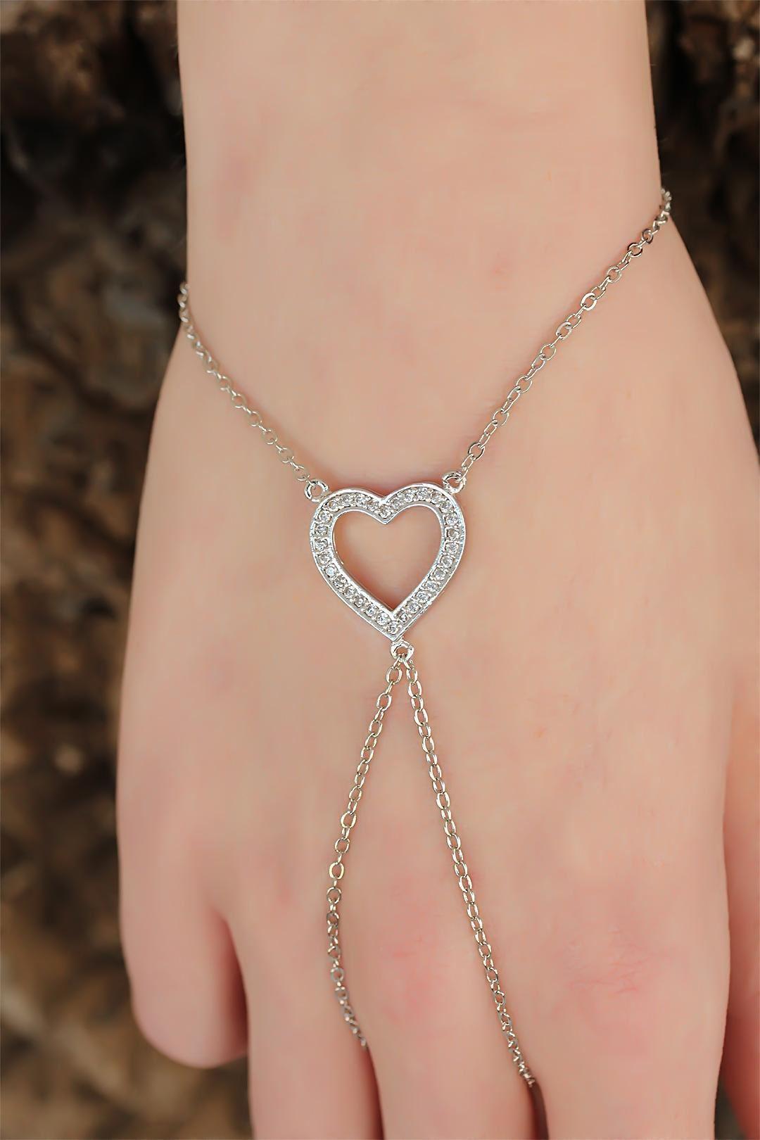 Silver Renk Zirkon Taşlı Kalp Figürlü Şahmeran Bileklik