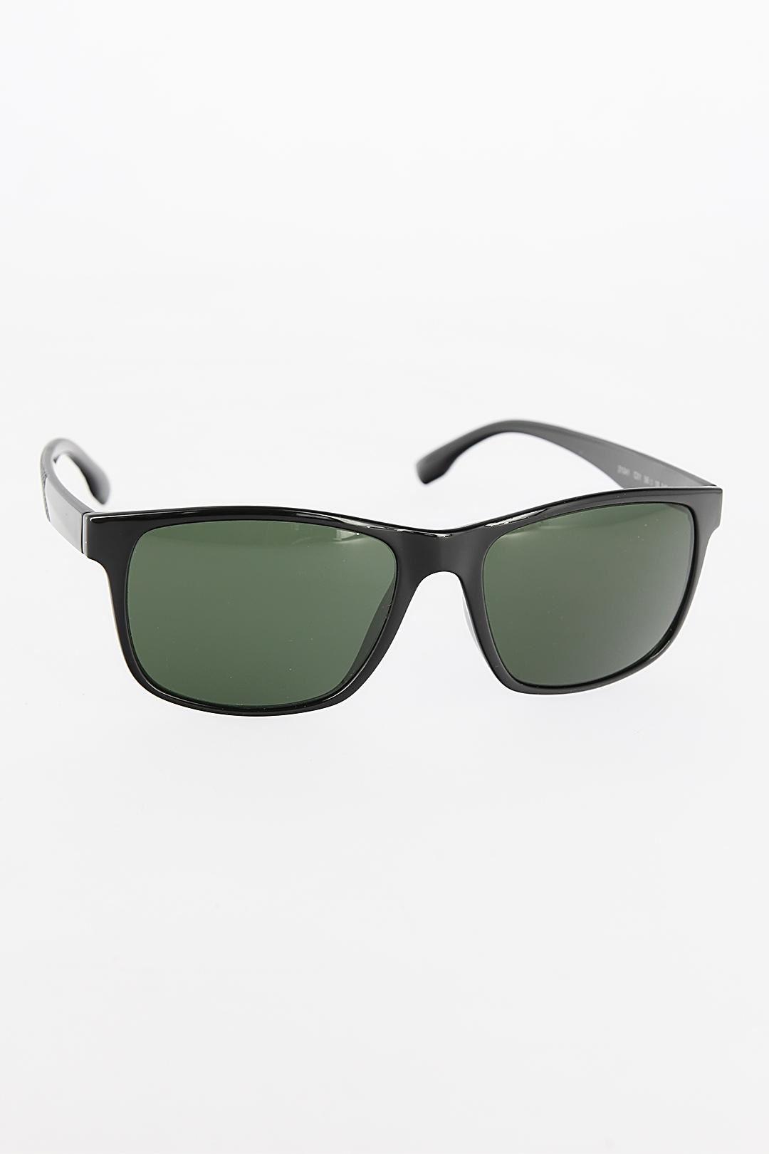 Siyah Renk Dikdörtgen Yeşil Renk Camlı Çerçeveli Erkek Güneş Gözlüğü