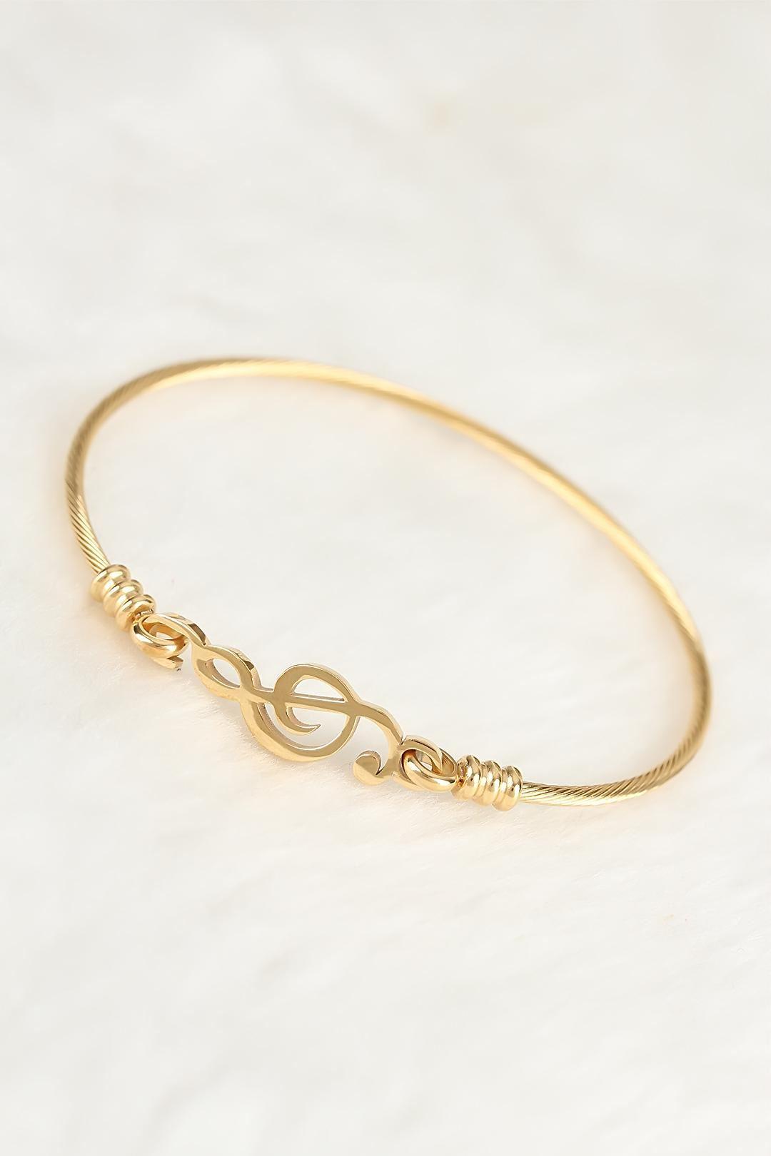 Gold Çelik Sol Anahtarı Figürlü Erkek Kelepçe Bileklik