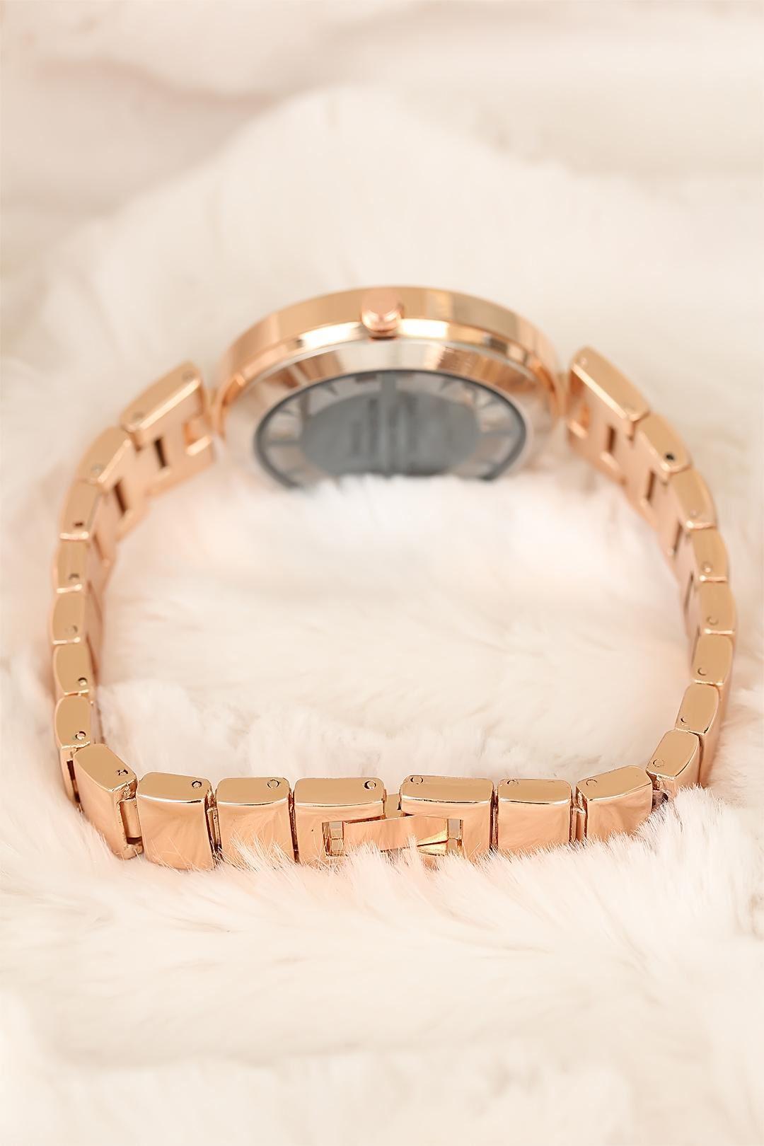 Rose Metal Kordonlu Taşlı İç Tasarım Clariss Marka Bayan Kol Saati