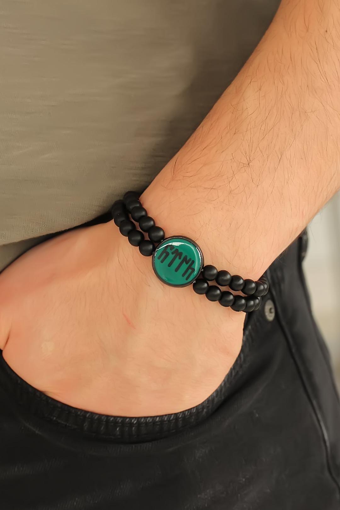 Eski Türkçe Göktürkçe Yazı Figürlü Yeşil Metal Aksesuarlı Çift Sıra Oniks Doğal Taş Erkek Bileklik