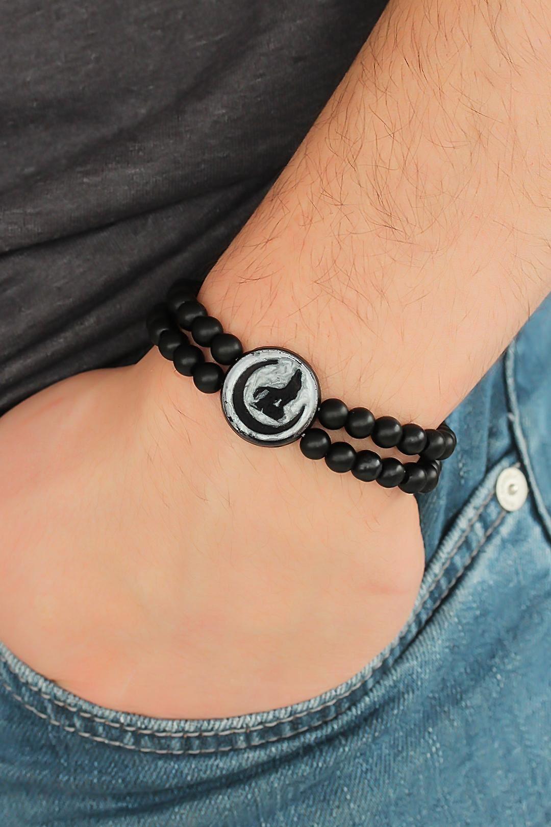 Bozkurt Figürlü Açık Siyah Renk Füme Metal Aksesuarlı Çift Sıra Oniks Doğal Taş Erkek Bileklik