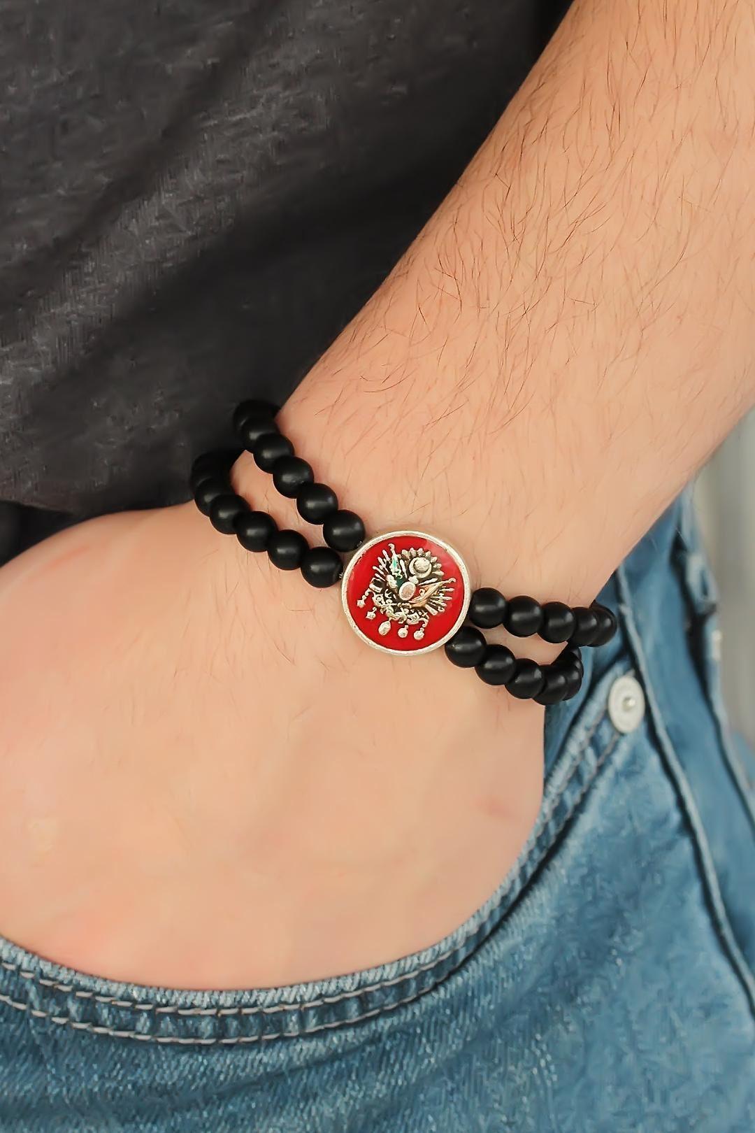 Osmanlı Armalı Kırmızı Renk Metal Aksesuarlı Siyah Oniks Doğal Taş Erkek Bileklik