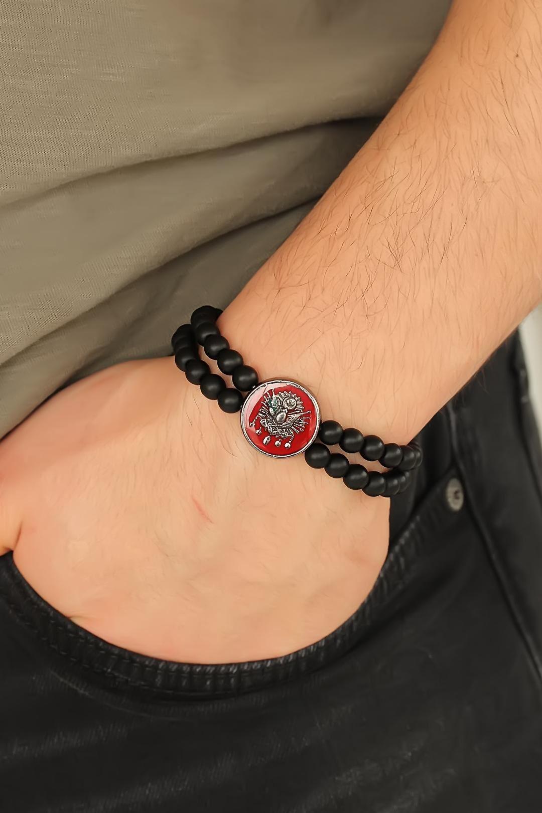 Osmanlı Tuğralı Kırmızı Metal Aksesuarlı Siyah Oniks Doğal Taş Erkek Bileklik