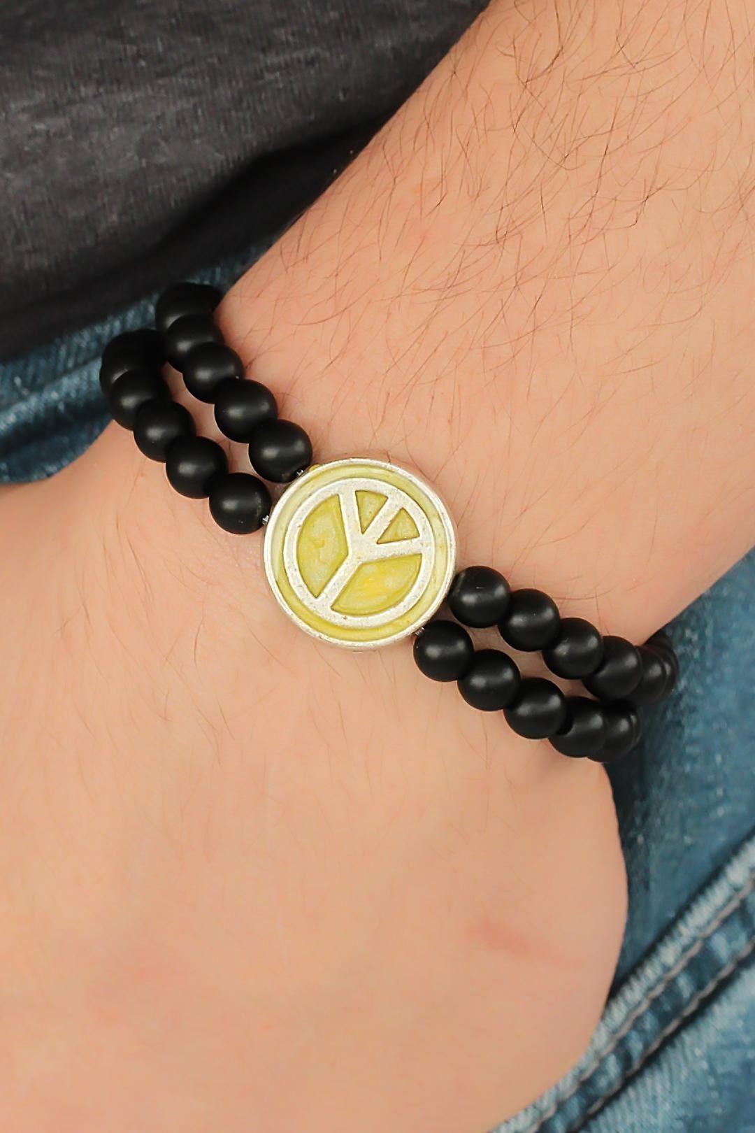 Sarı Metal Barış Simgesi Tasarımlı Siyah Renk Mat Oniks Doğal Taş Erkek Bileklik
