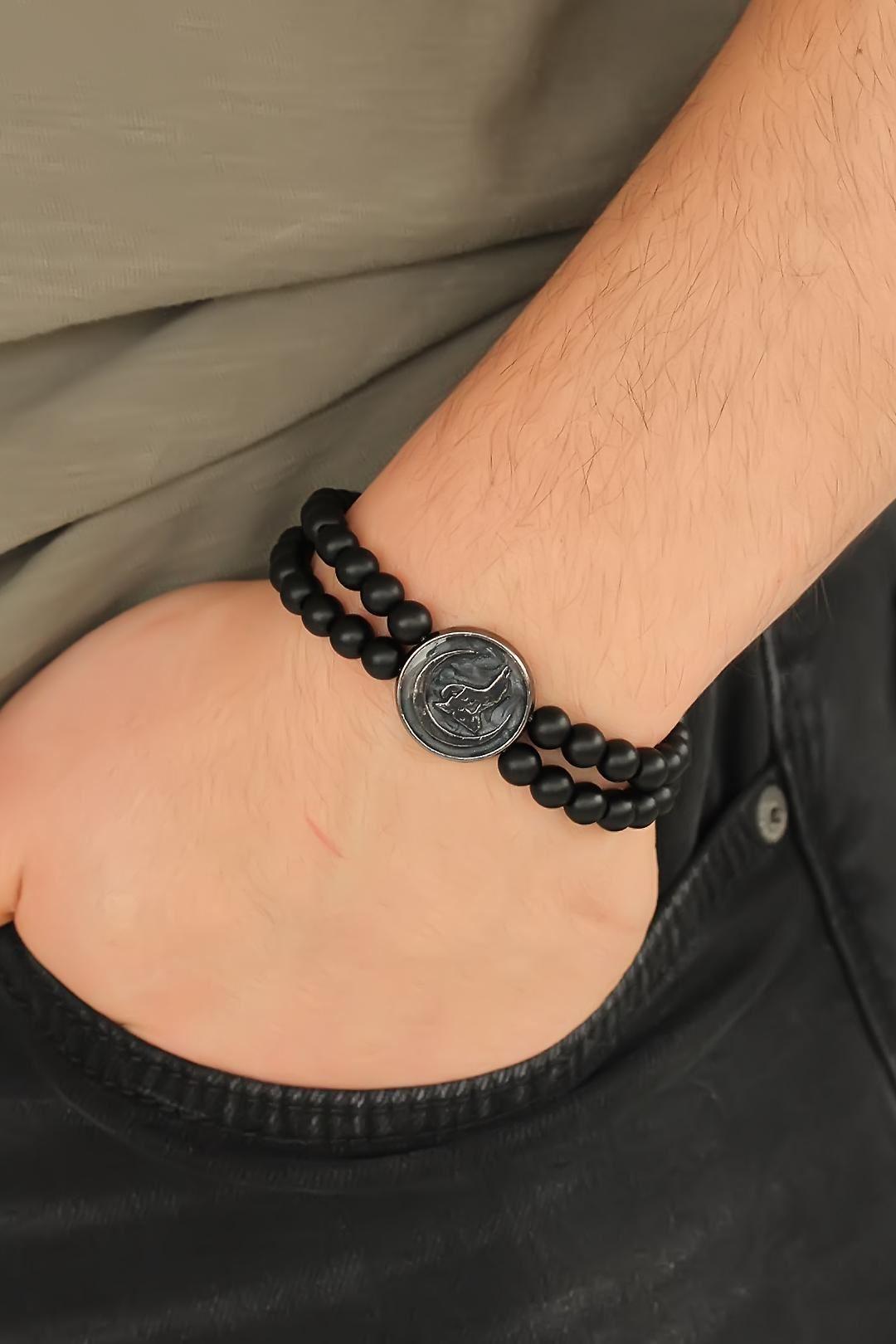 Füme Metal Bozkurt Tasarımlı Siyah Renk Mat Oniks Doğal Taş Erkek Bileklik