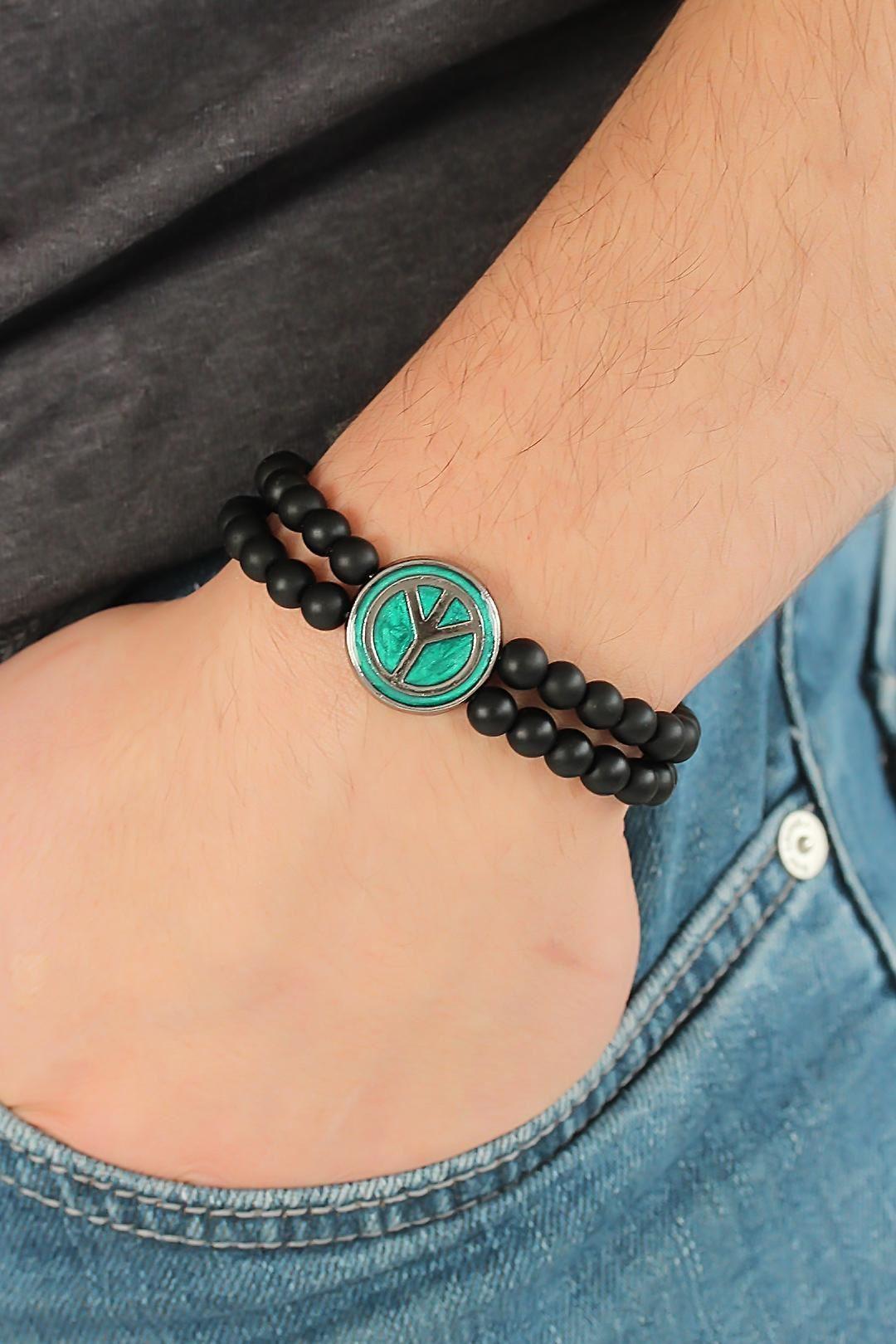 Yeşil Metal Barış Simgesi Tasarımlı Siyah Renk Mat Oniks Doğal Taş Erkek Bileklik