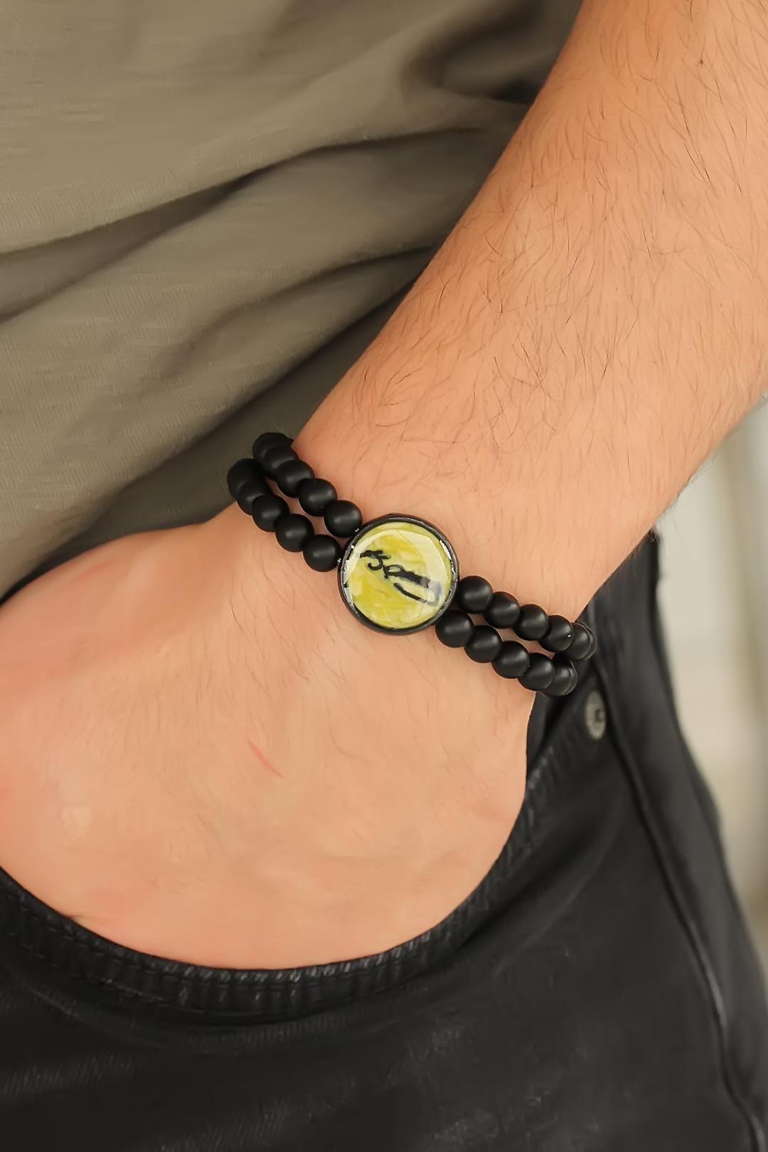 Sarı Metal Atatürk İmza Tasarımlı Siyah Renk Mat Oniks Doğal Taş Erkek Bileklik