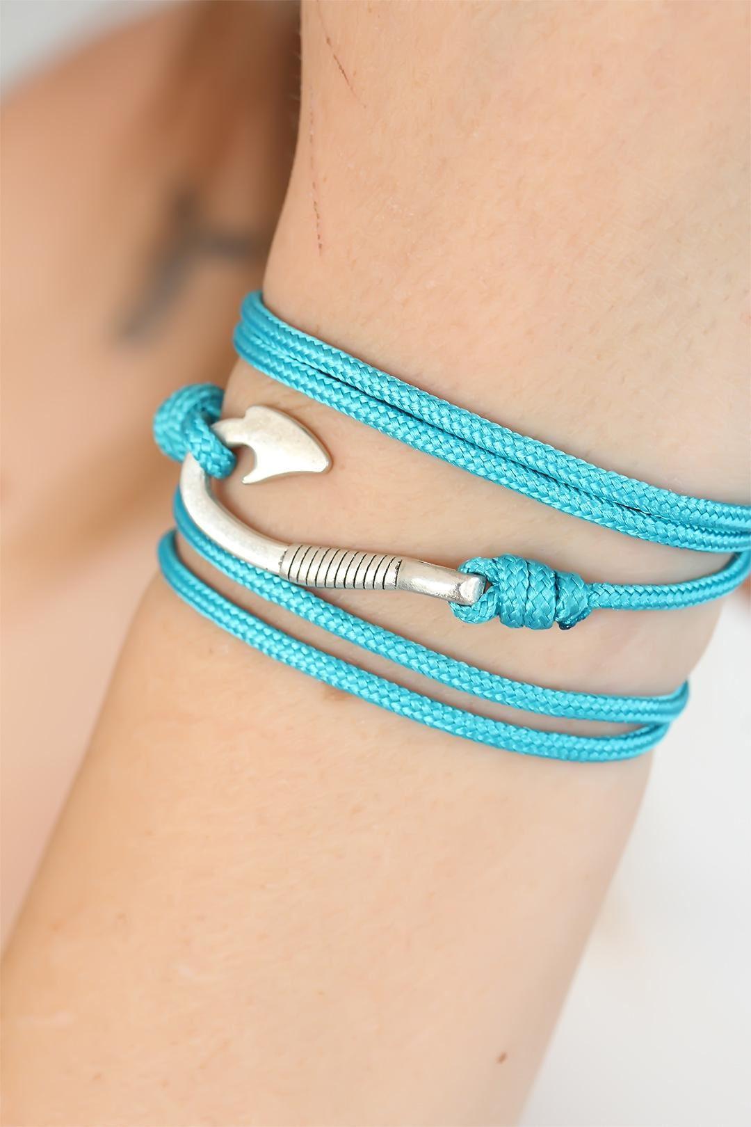 Mavi Renk Gümüş Metal Kancalı Bayan Çoklu Bileklik