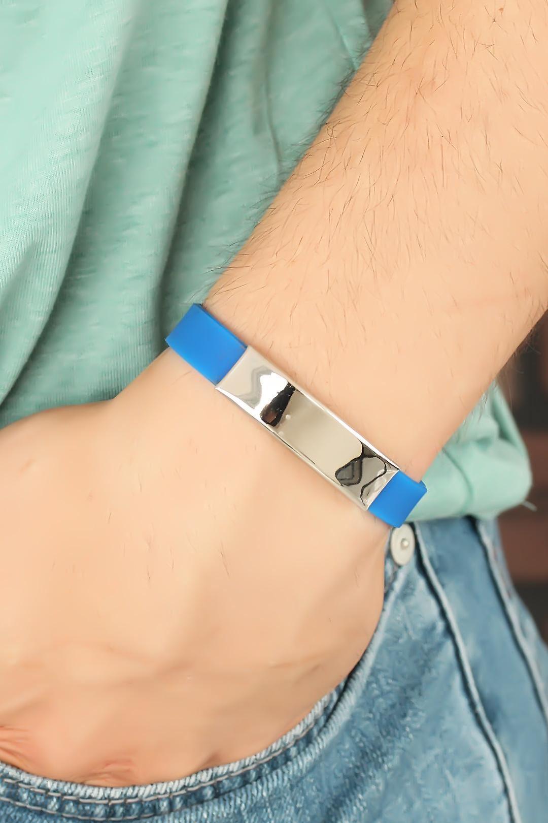 Mavi Silikon Metal Aksesuarlı Erkek Bileklik