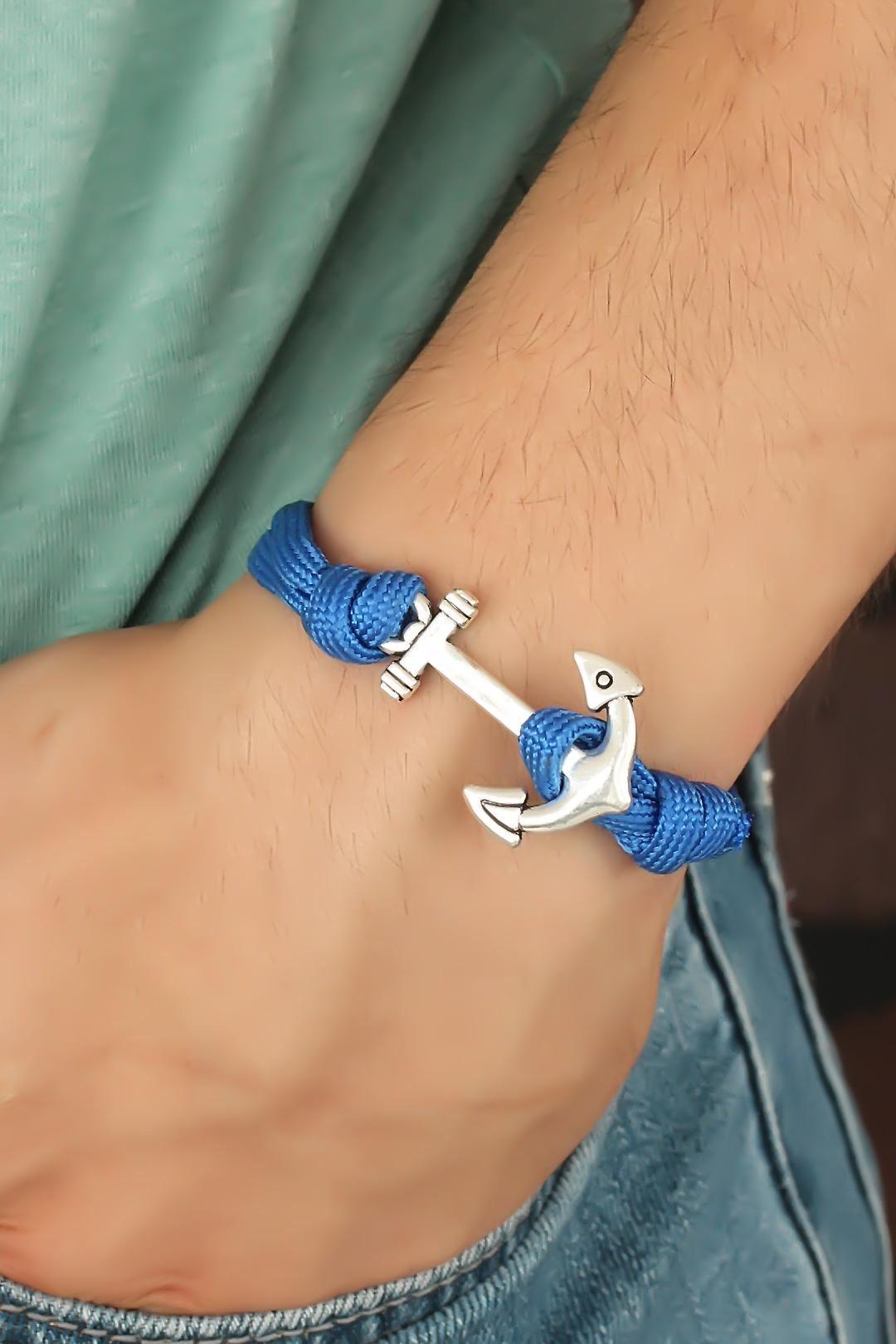 Mavi Renk Metal Çapalı Erkek Bileklik