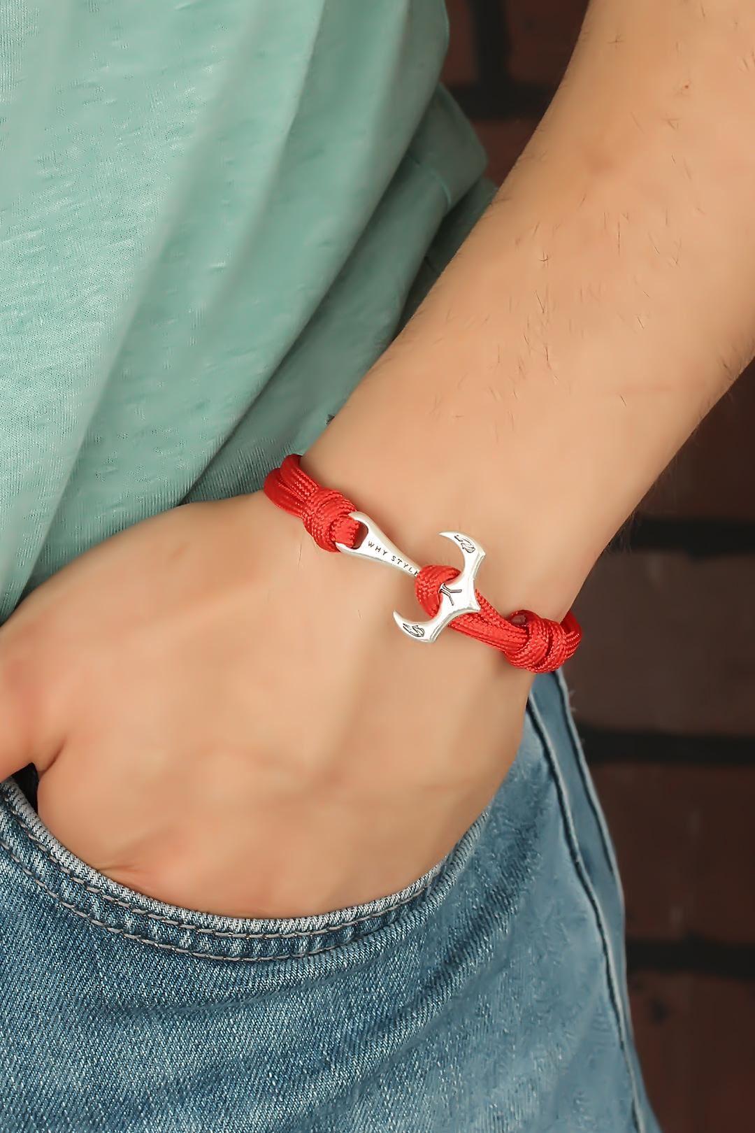 Kırmızı Renk Metal Çapalı Erkek Bileklik