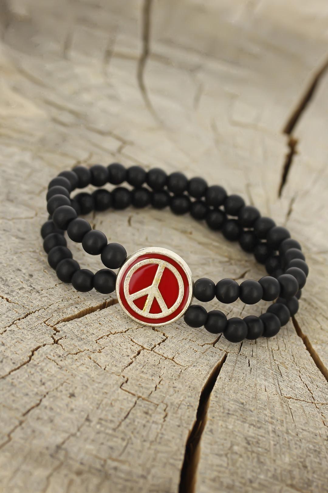 Bordo Renk  Renk Metal Barış Simgesi Tasarımlı Siyah Renk Mat Oniks Doğal Taş Erkek Bileklik