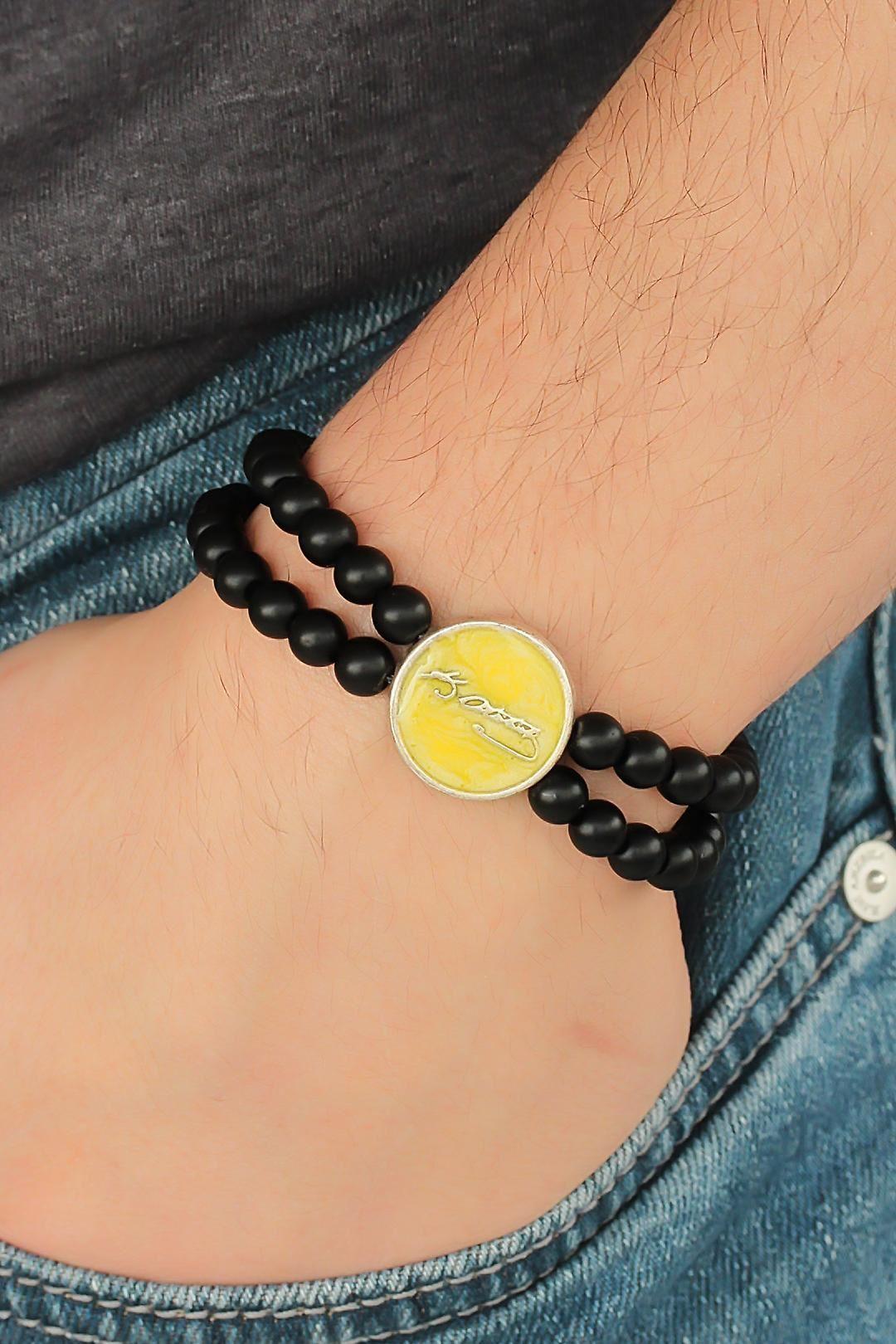 Sarı Renk Metal Atatürk İmza Tasarımlı Siyah Renk Mat Oniks Doğal Taş Erkek Bileklik