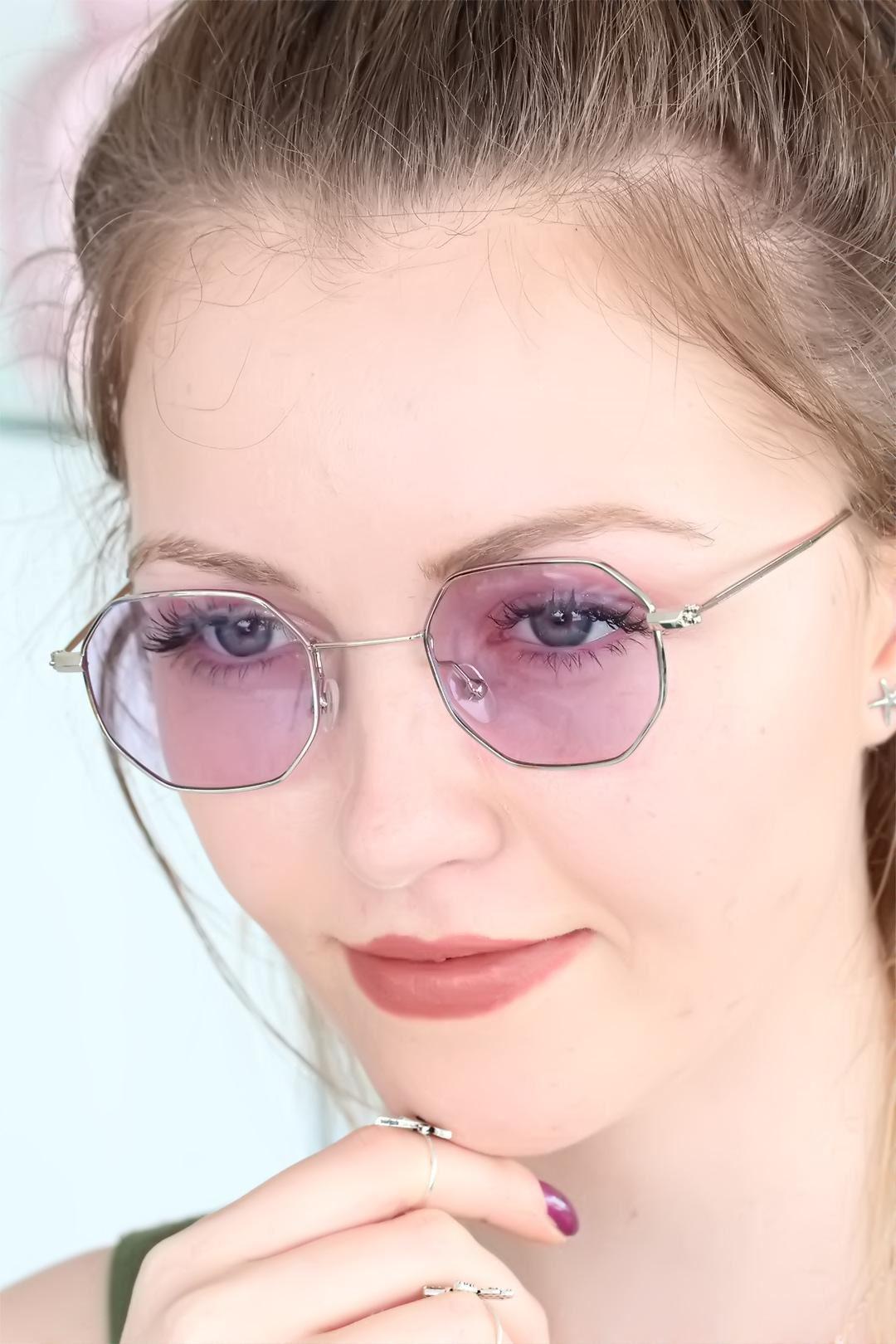 Mor Renk Gümüş Silver Çerçeve Retro Bayan Güneş Gözlüğü