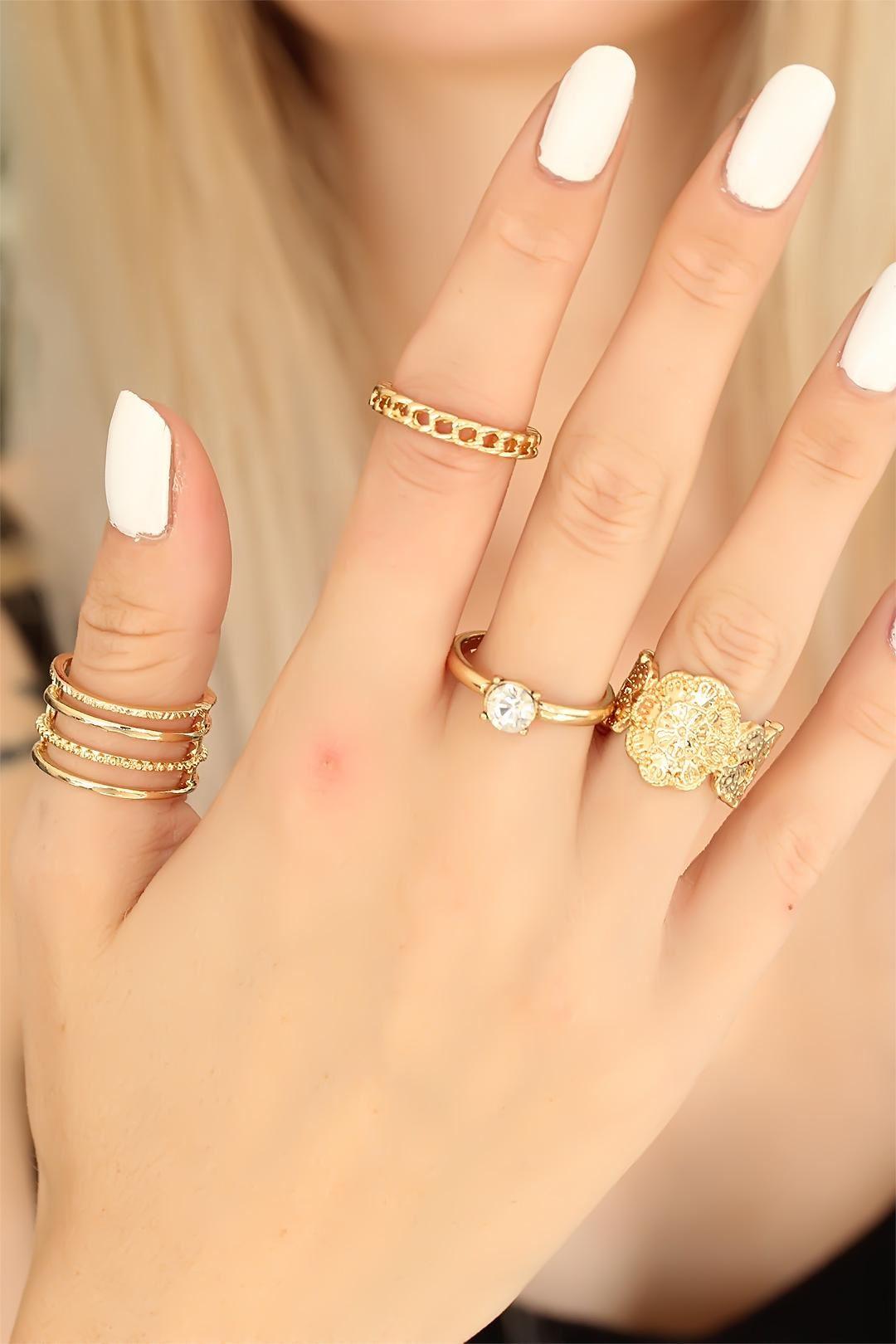 Trend Taşlı Gold Renk Metal Bayan Yüzük Seti