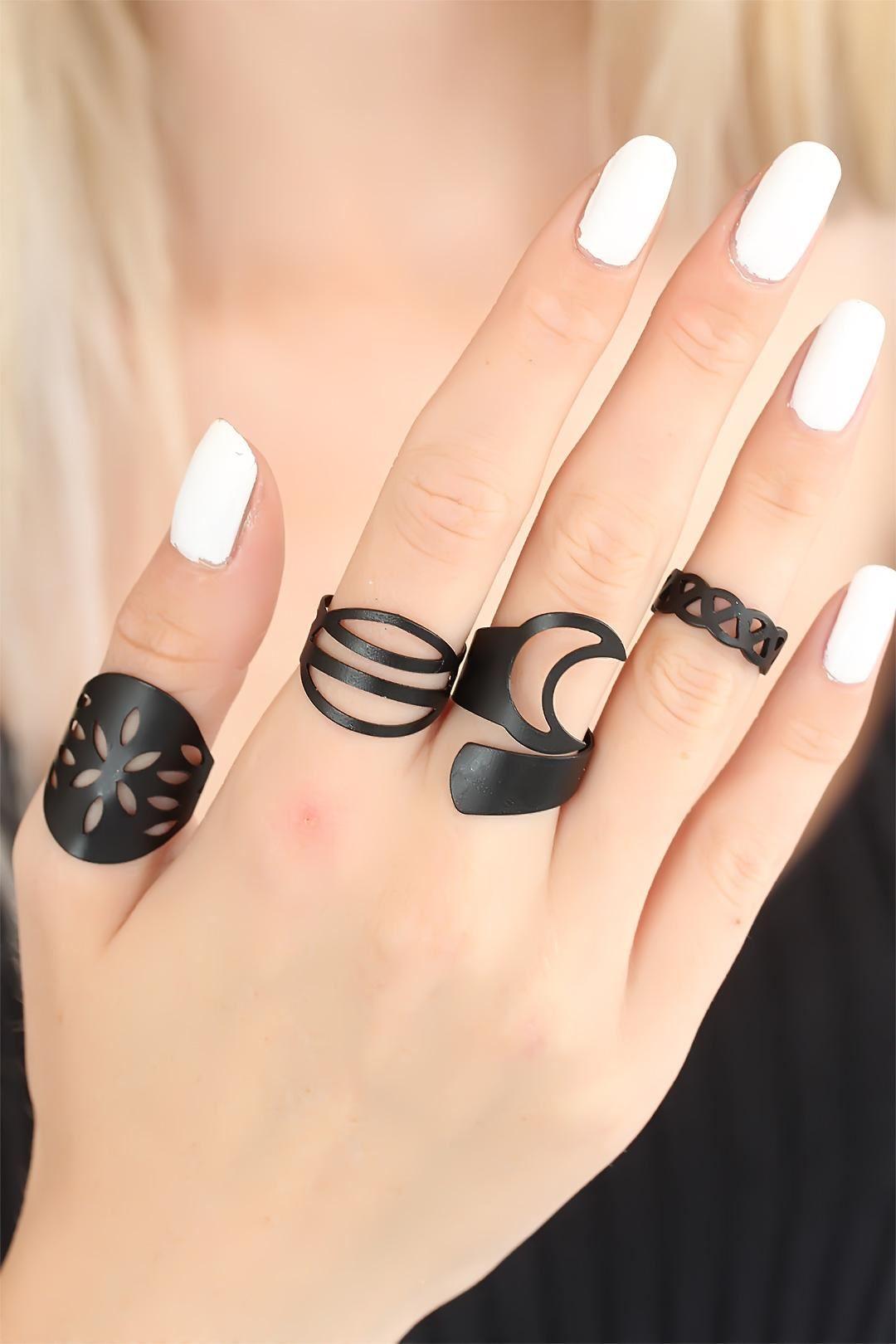 Siyah Renk Bayan Yüzük Seti