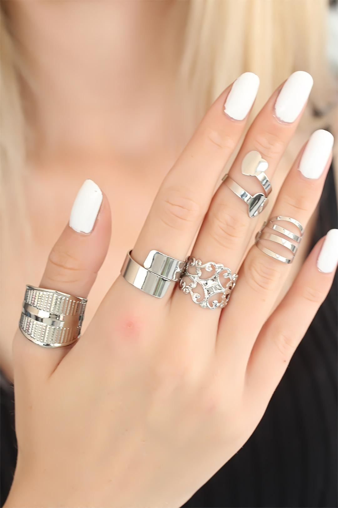 Silver Renk Bayan Yüzük Seti