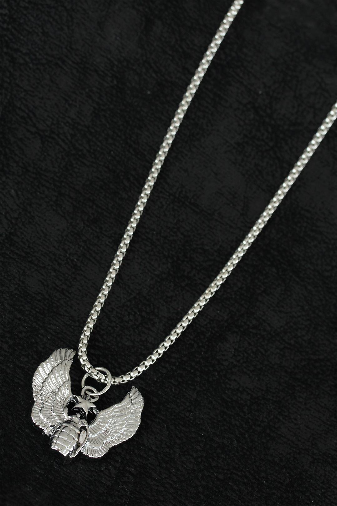 Bomba Tasarım Silver Renk Zincirli Erkek Kolye