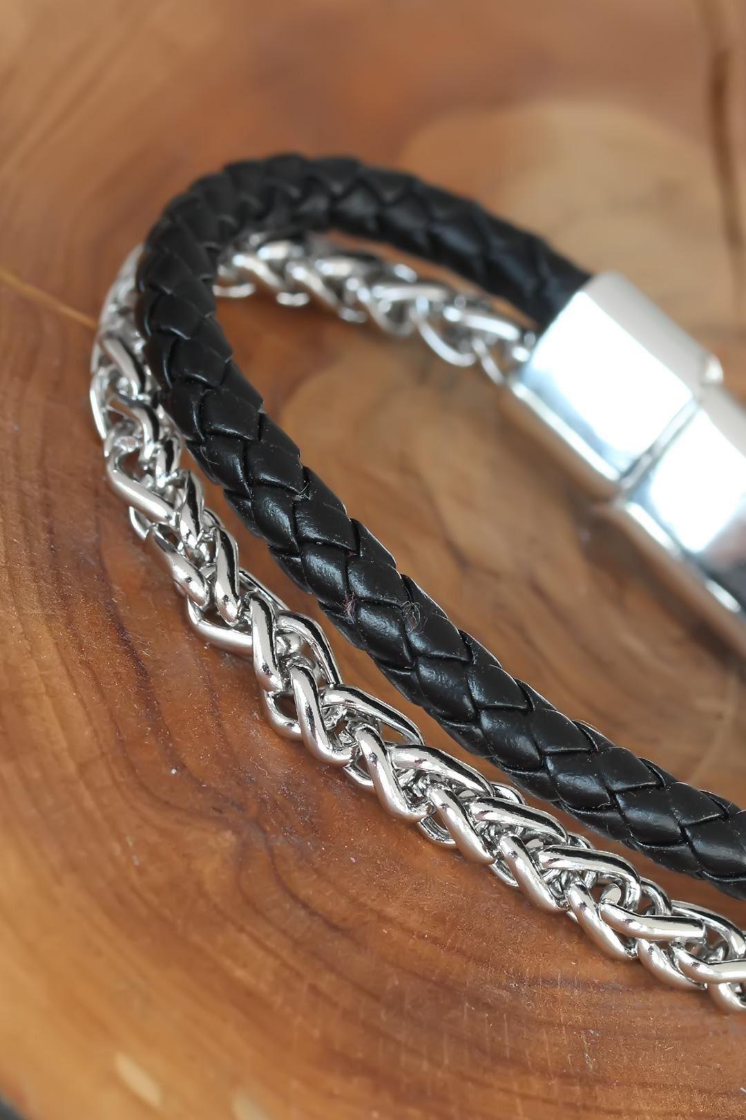 Silver Renk Zincirli Siyah Renk Deri Erkek Bileklik