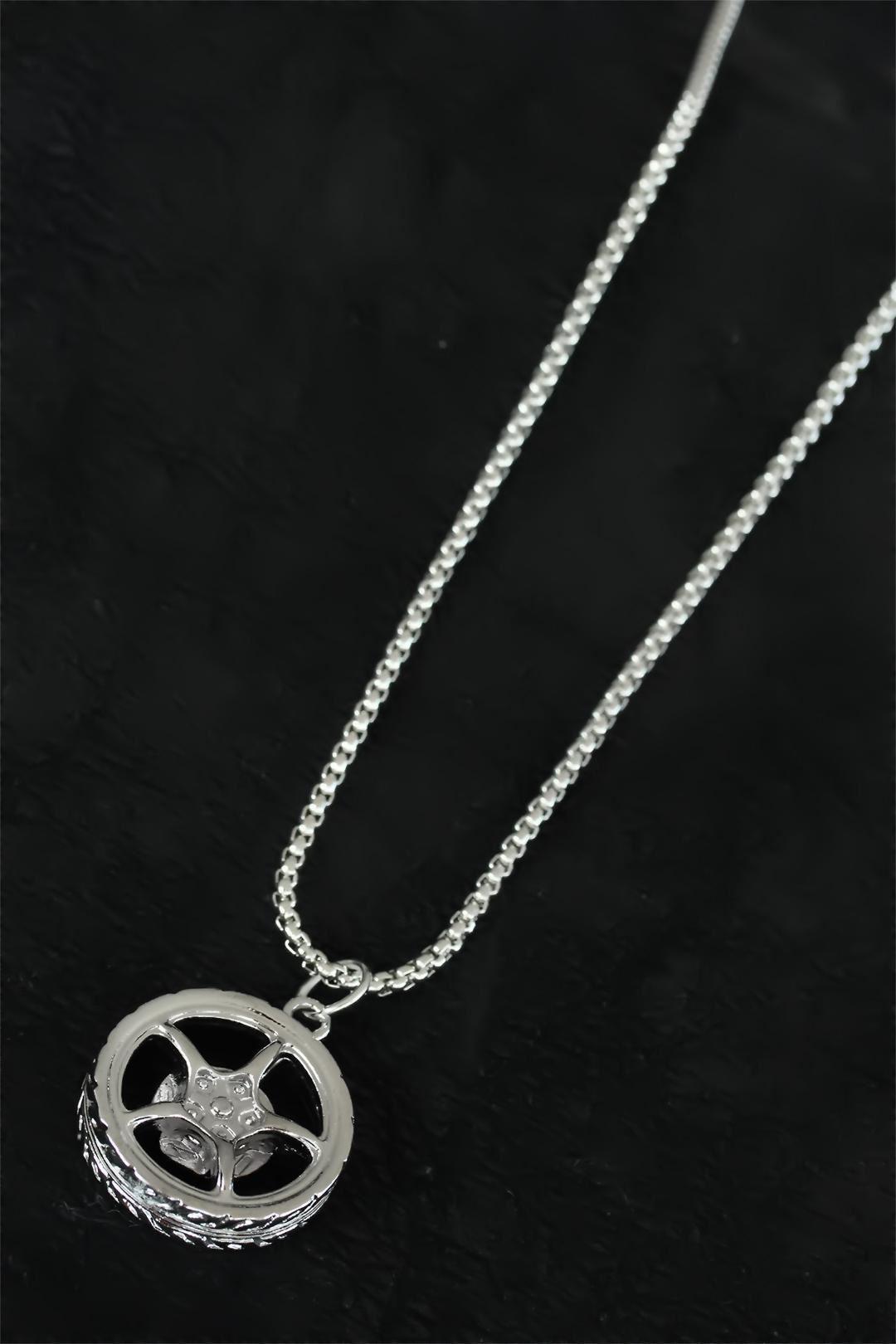 Medusa Tasarım Silver Renk Zincirli Erkek Kolye