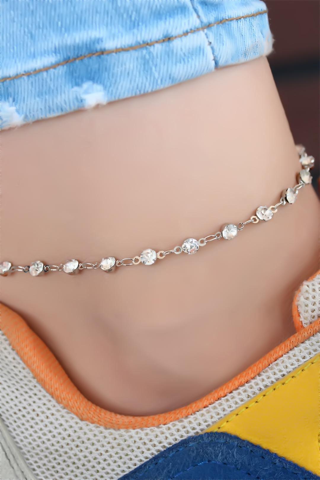 Silver Renk Zirkon Taşlı Halhal