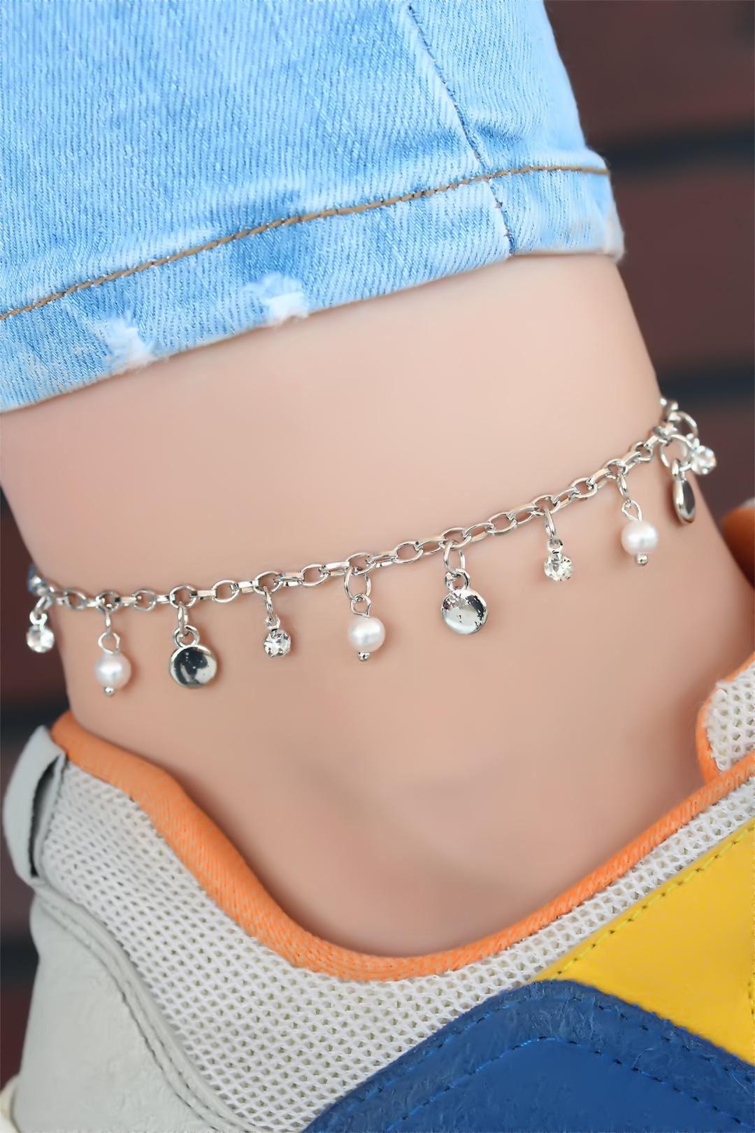 Silver Renk Zincirli Halhal
