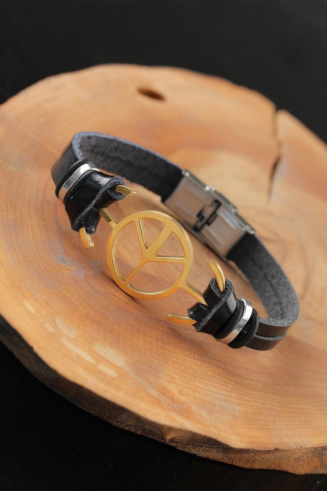 Gold Renk Barış Figürlü Metal Aksesuarlı Siyah Renk Deri Erkek Bileklik