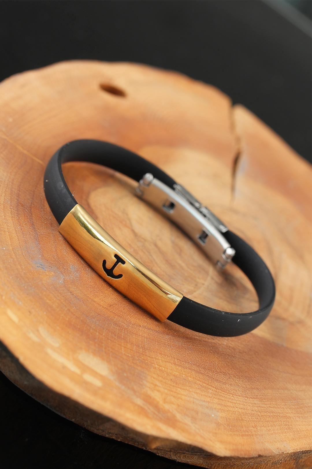Gold Renk Metal Deniz Çapası Tasarım Siyah Renk Silikon Erkek Bileklik